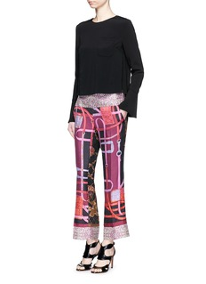 IBRIGUSilk combo cropped kick flare pants