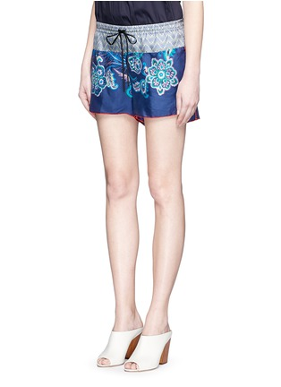Front View - Click To Enlarge - IBRIGU - One of a kind print drawstring silk shorts