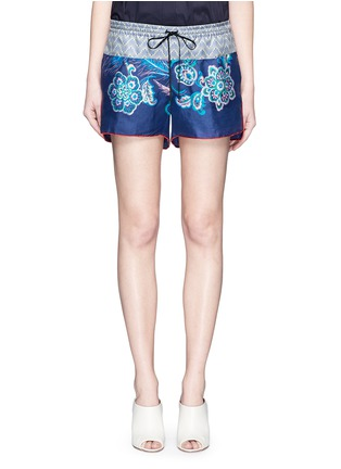 Main View - Click To Enlarge - IBRIGU - One of a kind print drawstring silk shorts