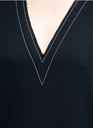 Detail View - Click To Enlarge - Sulvam - Side slit V-neck wool tunic shirt