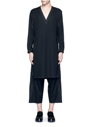 Main View - Click To Enlarge - Sulvam - Side slit V-neck wool tunic shirt