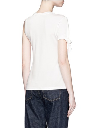 Back View - Click To Enlarge - Mo&Co. - Knotted sleeve piqué T-shirt