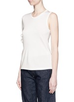 Knotted sleeve piqué T-shirt
