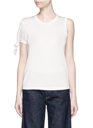 Main View - Click To Enlarge - Mo&Co. - Knotted sleeve piqué T-shirt