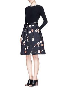 MO&Co.Cherry blossom print neoprene skirt