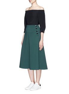 MO&Co.Side button neoprene A-line skirt