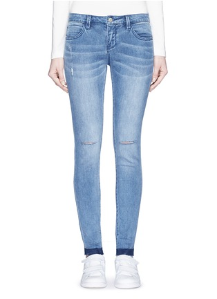 Detail View - Click To Enlarge - Mo&Co. - Ripped knee frayed cuff skinny jeans
