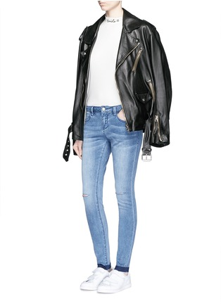 Figure View - Click To Enlarge - Mo&Co. - Ripped knee frayed cuff skinny jeans