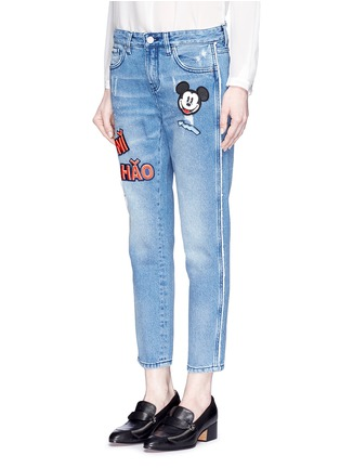Front View - Click To Enlarge - Mo&Co. - Mickey Mouse badge embroidered patch cropped boyfriend jeans