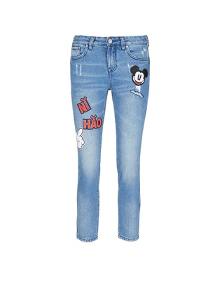 Main View - Click To Enlarge - Mo&Co. - Mickey Mouse badge embroidered patch cropped boyfriend jeans