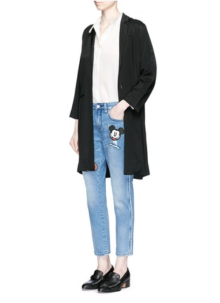Figure View - Click To Enlarge - Mo&Co. - Mickey Mouse badge embroidered patch cropped boyfriend jeans