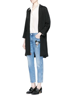MO&Co.Mickey Mouse badge embroidered patch cropped boyfriend jeans