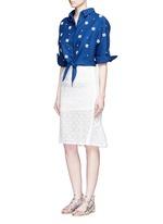 Faux pearl embellished tie front denim shirt
