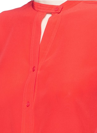 Detail View - Click To Enlarge - Mo&Co. - Band collar silk crepe de Chine shirt