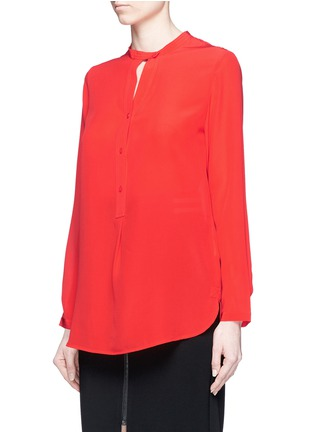 Front View - Click To Enlarge - Mo&Co. - Band collar silk crepe de Chine shirt