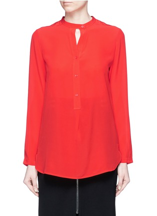 Main View - Click To Enlarge - Mo&Co. - Band collar silk crepe de Chine shirt