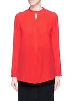 Band collar silk crepe de Chine shirt
