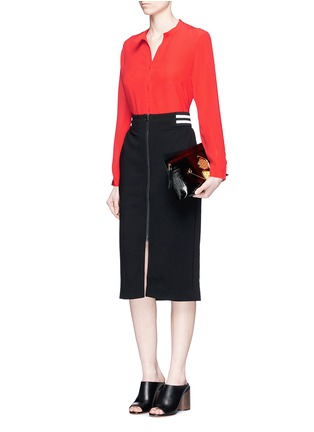 Figure View - Click To Enlarge - Mo&Co. - Band collar silk crepe de Chine shirt