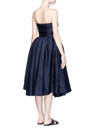 Back View - Click To Enlarge - Ms MIN - Gathered cotton-silk strapless cocktail dress