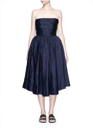 Main View - Click To Enlarge - Ms MIN - Gathered cotton-silk strapless cocktail dress