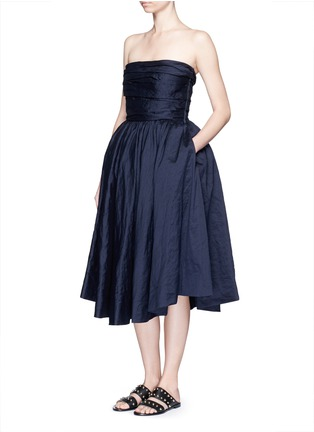 Figure View - Click To Enlarge - Ms MIN - Gathered cotton-silk strapless cocktail dress