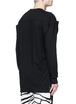 背面 - 点击放大 - HOOD BY AIR - 布块拼贴双层纯棉卫衣