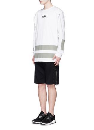 模特儿示范图 - 点击放大 - HOOD BY AIR - 系带拉链装饰纯棉短裤