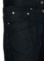 Logo print patchwork seam jeans