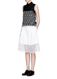 CYNTHIA & XIAO Dot embroidered sheer cuff culottes