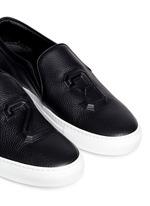 '23' embossed leather skate slip-ons