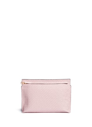 Main View - Click To Enlarge - Loewe - 'T Pouch' engraved anagram leather clutch