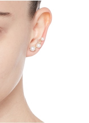 Phyne By Paige Novick - 'Gigi' pearl diamond pavé single climber earring