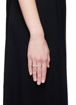 'Marta' 18k gold diamond pavé pearl topaz two finger ring