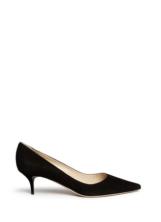 Main View - Click To Enlarge - Jimmy Choo - 'Aza' kitten suede heel pumps