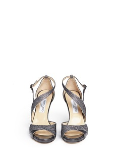 JIMMY CHOO 'Tyne' mesh lamé glitter leather sandals