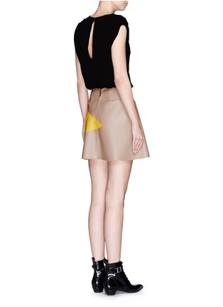 Back View - Click To Enlarge - MSGM - Colourblock crepe faux leather star patchwork dress
