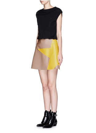 Front View - Click To Enlarge - MSGM - Colourblock crepe faux leather star patchwork dress