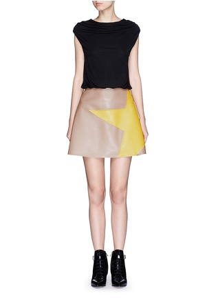 Main View - Click To Enlarge - MSGM - Colourblock crepe faux leather star patchwork dress