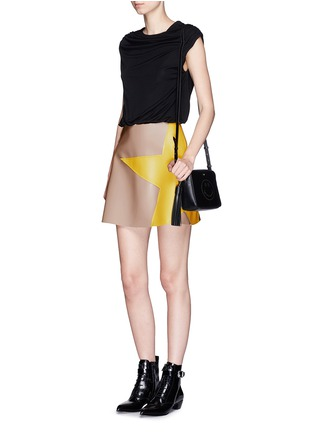 Figure View - Click To Enlarge - MSGM - Colourblock crepe faux leather star patchwork dress