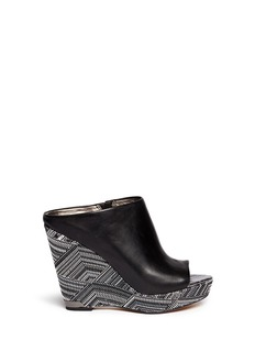 SAM EDELMAN 'Kylie' woven Aztec wedge leather mules