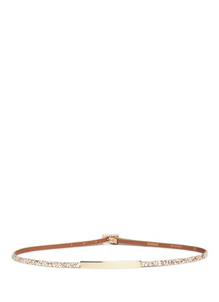 Main View - Click To Enlarge - Maison Boinet - Glitter leather buckle skinny belt