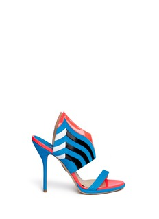PAUL ANDREW'Nya' mix leather wing vamp mule sandals