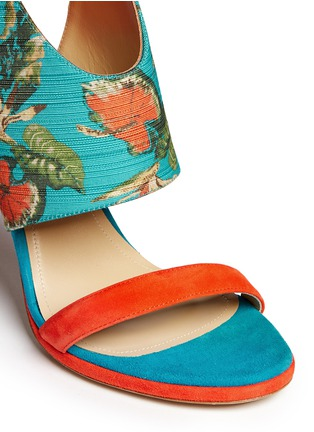 Detail View - Click To Enlarge - Paul Andrew - 'Nya' floral print wing vamp mule sandals