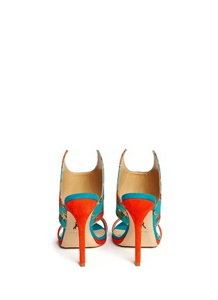 Back View - Click To Enlarge - Paul Andrew - 'Nya' floral print wing vamp mule sandals