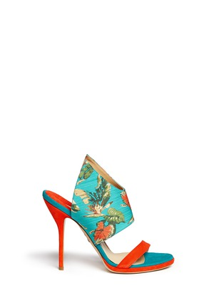Main View - Click To Enlarge - Paul Andrew - 'Nya' floral print wing vamp mule sandals