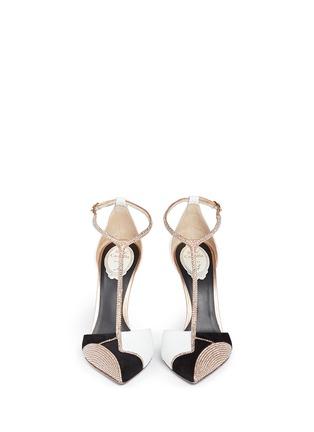 模特儿示范图 - 点击放大 - RENÉ CAOVILLA - Karung leather strass T-strap pumps