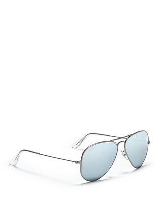 模特儿示范图 - 点击放大 - RAY-BAN - 'Aviator Large Metal' mirror sunglasses