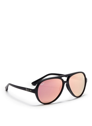 模特儿示范图 - 点击放大 - RAY-BAN - Acetate aviator mirror sunglasses