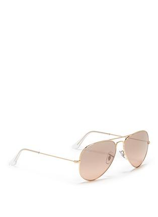 模特儿示范图 - 点击放大 - RAY-BAN - 'Aviator Large Metal' mirror sunglasses