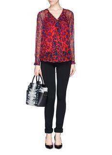 DIANE VON FURSTENBERG'Reese' cheetah print ruffle silk blouse